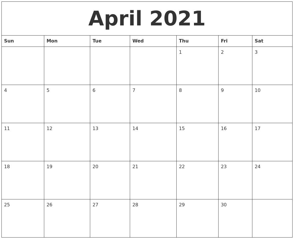 April 2021 Blank Monthly Calendar Template