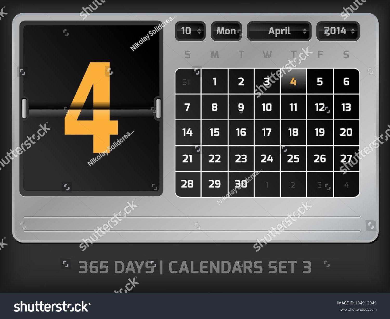April 4Th Counter Calendar 2014 365 Stock Vector (Royalty