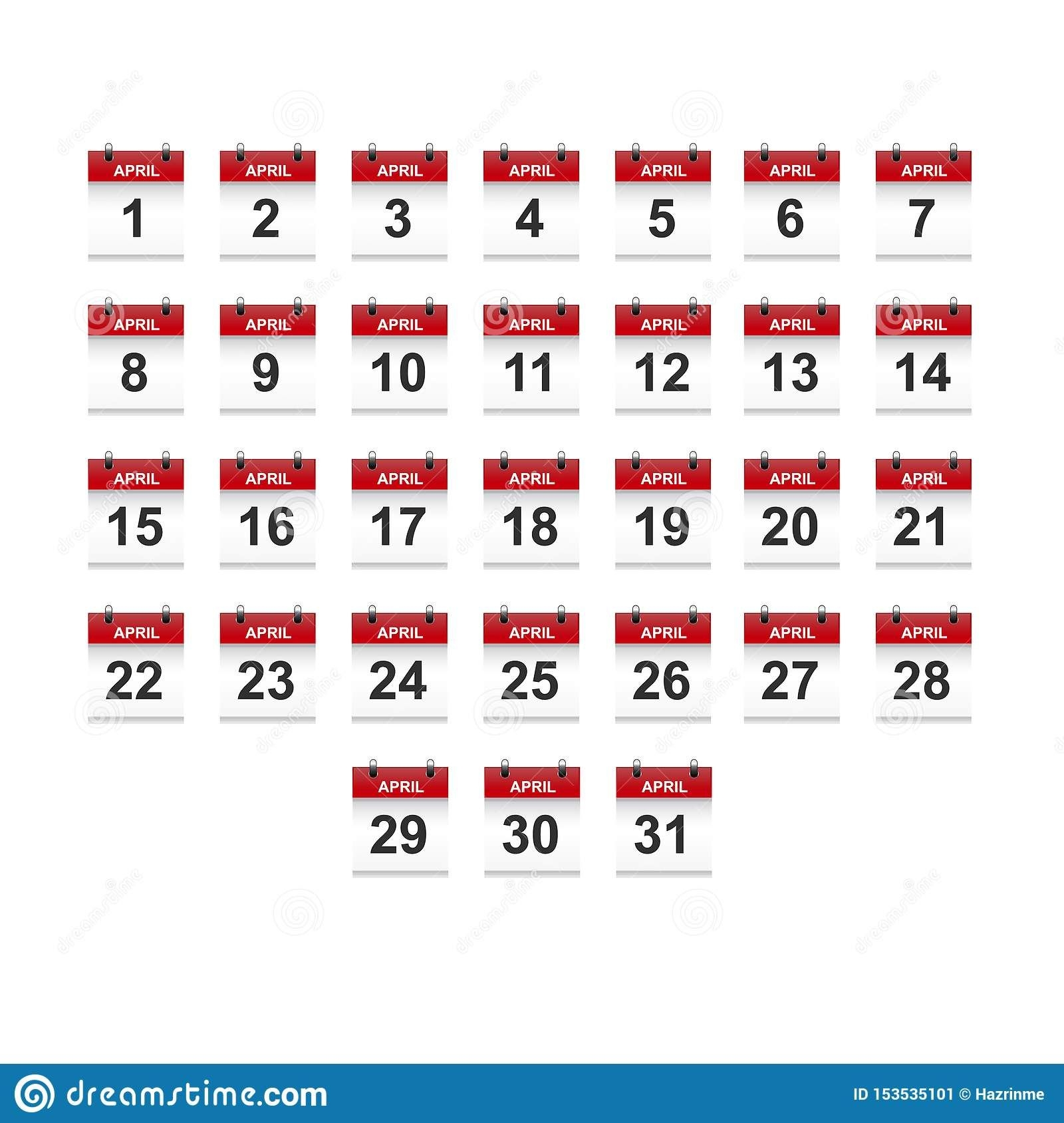 April Calendar 1-31 Illustration Vector Art Stock Vector