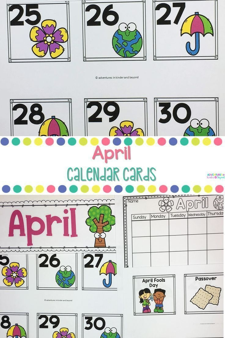 April Calendar Cards | Calendar Math, Classroom Calendar