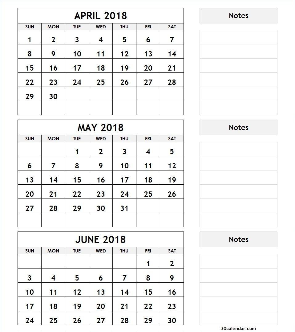 April May June 2018 Calendar Example | 3 Month Calendar Template