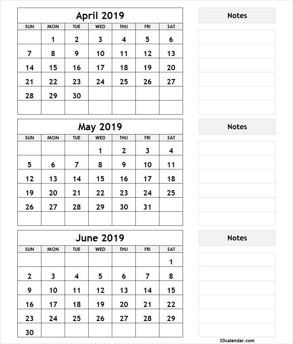 April May June 2019 Calendar   3 Month Calendar Template