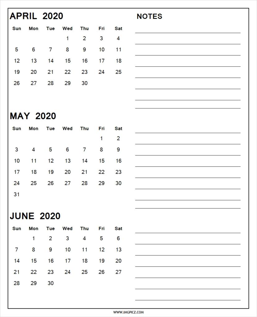 April May June 2020 Calendar Printable | 3 Months 2020 Calendar