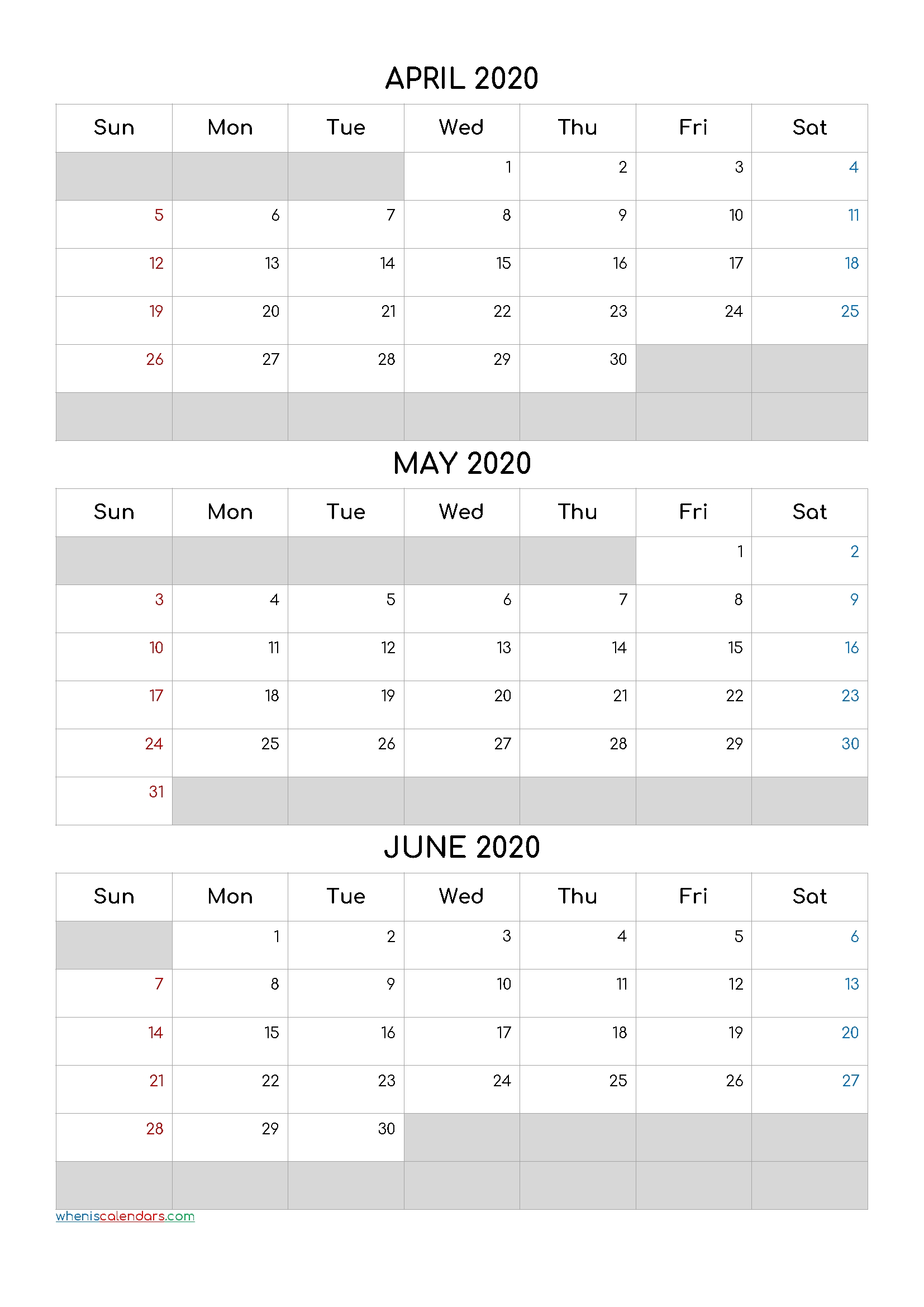 April May June 2020 Free Printable 3 Month Calendar-20Cf5