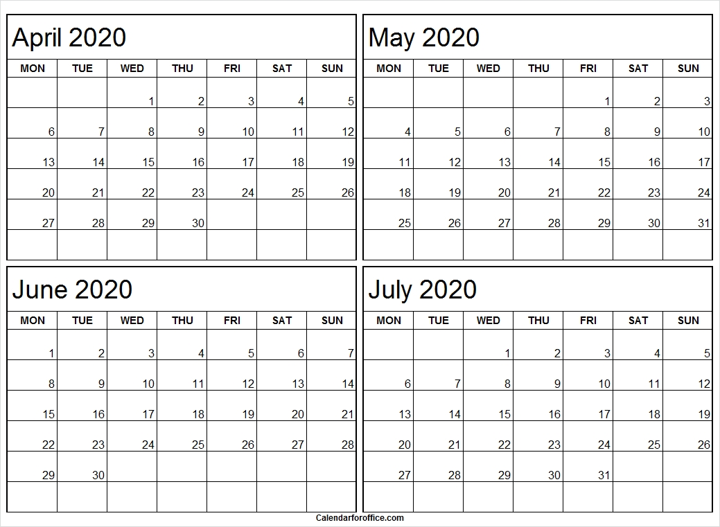 April To July 2020 Calendar Monday To Friday | Black And