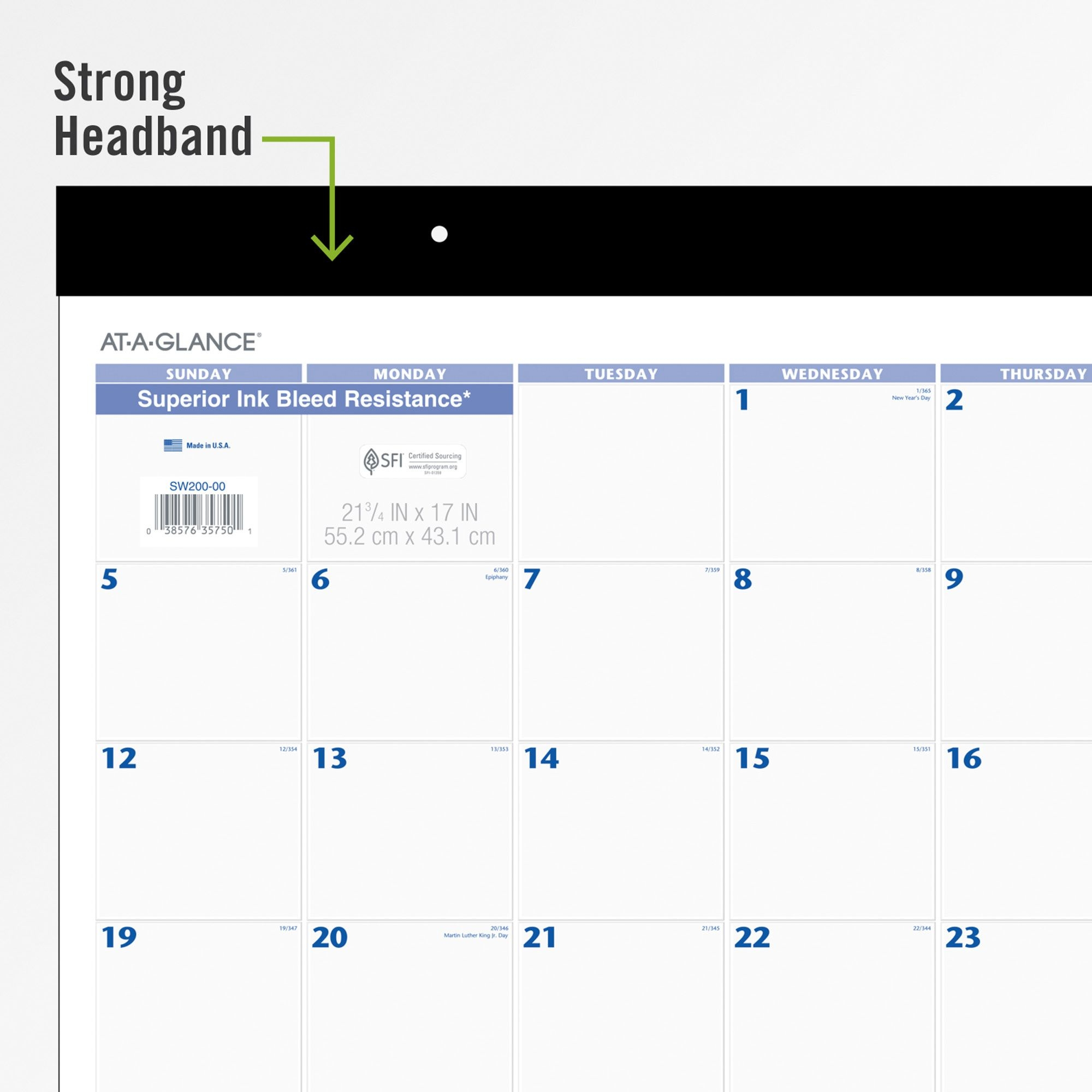 At-A-Glance Monthly Desk Pad - Monthly - 1 Year - January