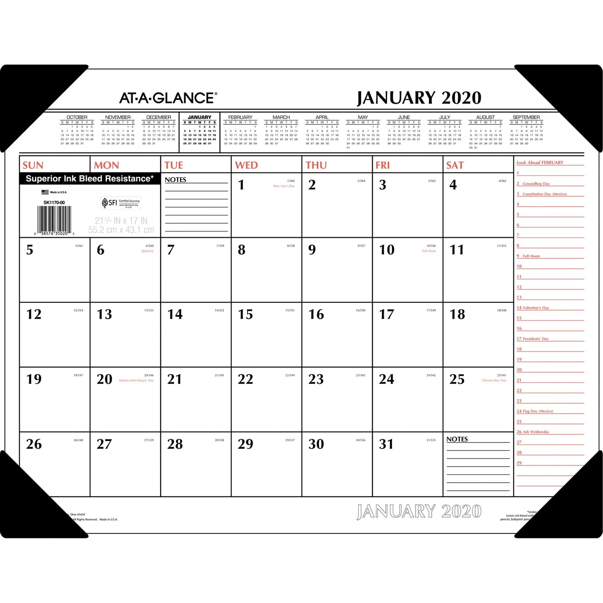 "At-A-Glance Monthly Desk Pad - Yes - Monthly - 1 Year - January 2020 Till  December 2020 - 1 Month Single Page Layout - 22"" X 17"" Sheet Size - 2.38"" X"