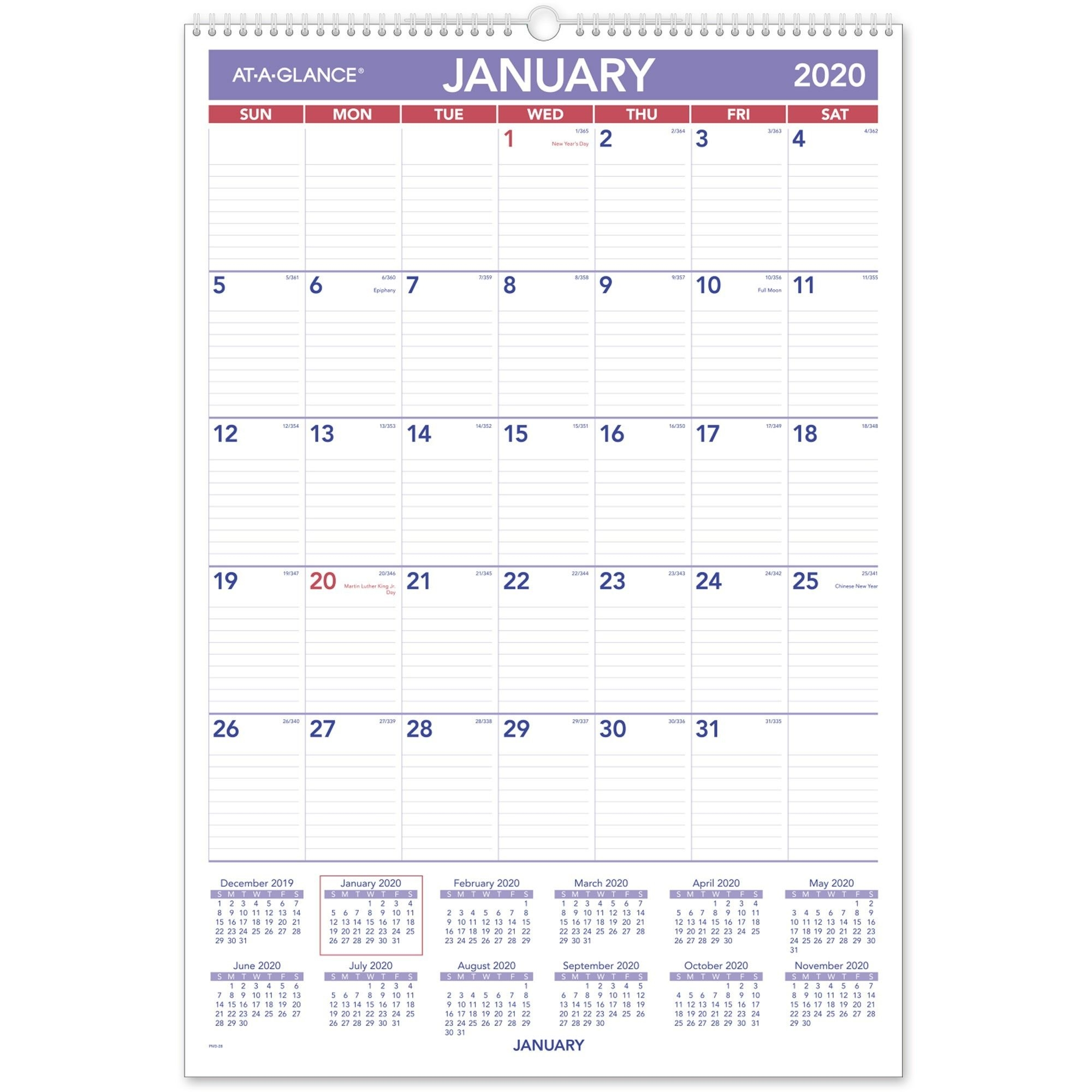 """At-A-Glance Recycled Monthly Wall Calendar - Yes - Monthly - 1 Year -  January 2020 Till December 2020 - 1 Month Single Page Layout - 15 1/2"""" X 22  3/4"""""""