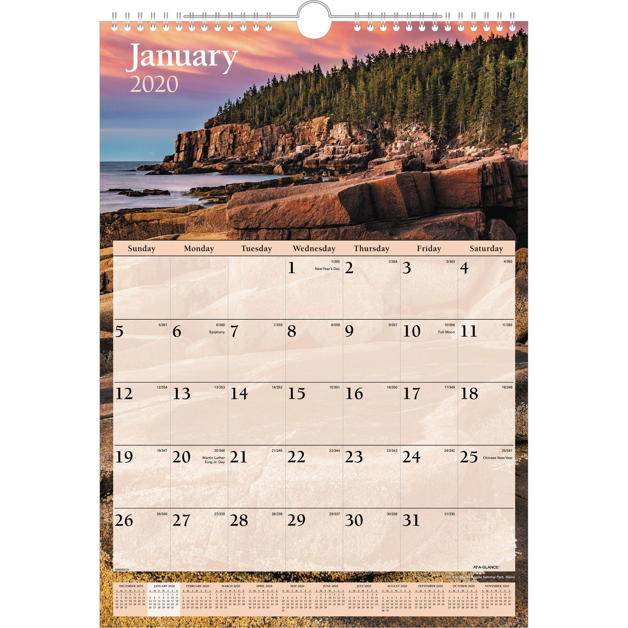 """At-A-Glance Scenic Monthly Wall Calendar - Monthly - 1 Year - January 2020  Till December 2020 - 1 Month Single Page Layout - 12"""" X 17"""" Sheet Size -"""