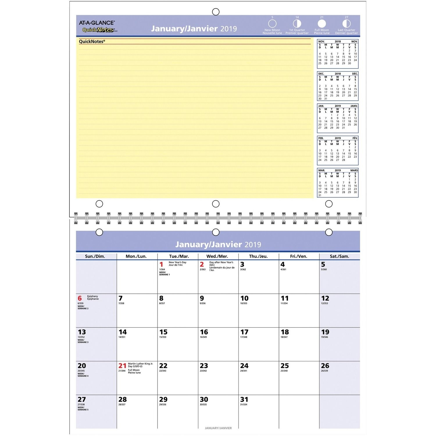 "At-A-Glance Wall Calendars - Monthly - 1 Year - January 2020 Till December  2020 - 8"" X 11"" Sheet Size - 1.25"" (31.75 Mm) X 1.25"" (31.75 Mm) Block -"