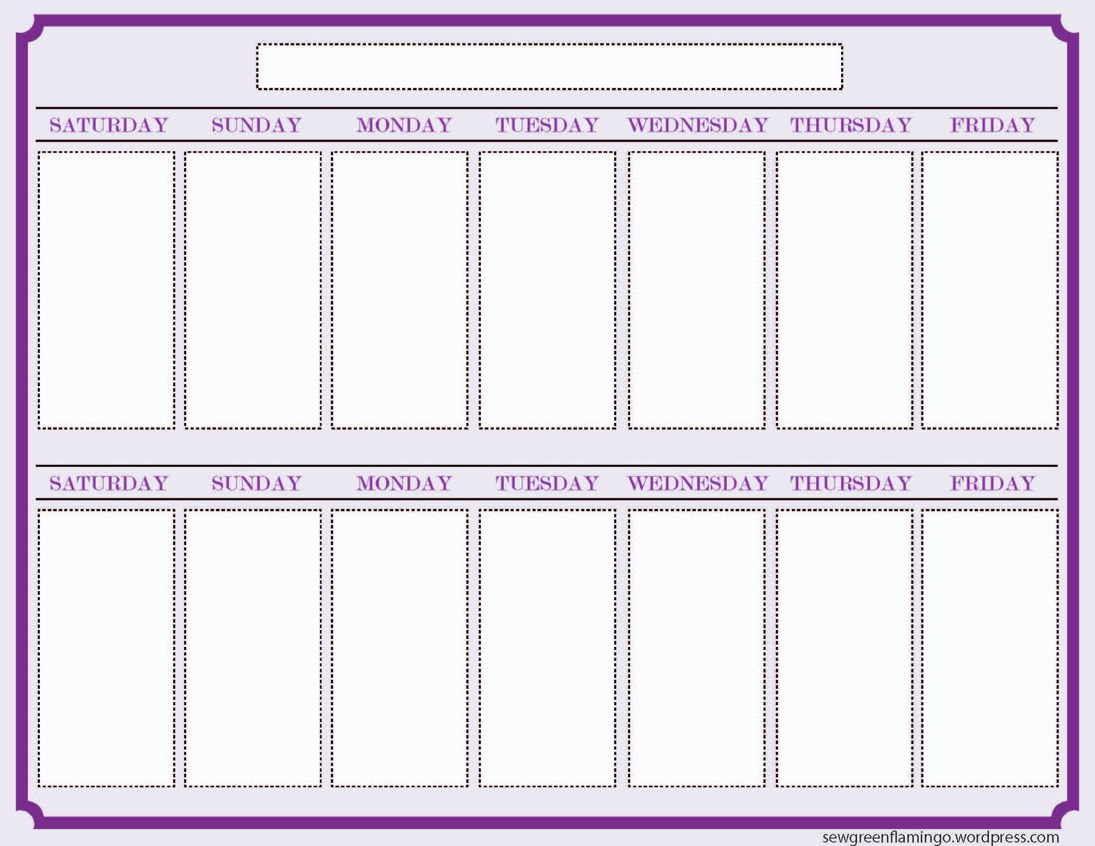 Attractive Weekly Blank Calendar Template Sample : V-M-D