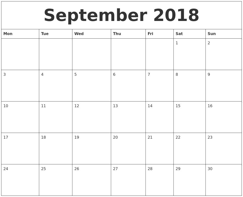 August 2018 Calendar Template Word — September Calendar 2018
