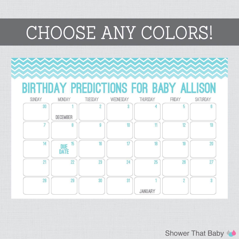 Baby Birthday Predictions Printable Chevron Baby Shower