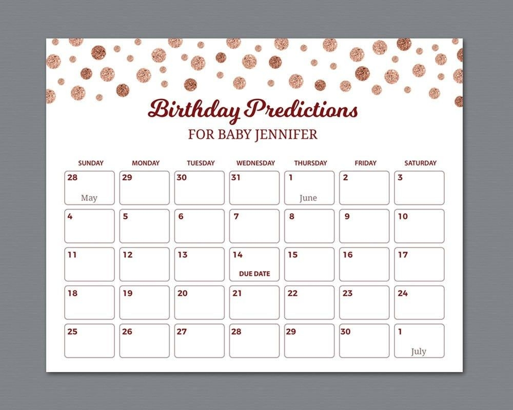 Baby Due Date Calendar Sign, Birthday Predictions, Guess The Birthday, Rose  Gold Confetti Baby Shower Games, Guess The Due Date Sign, B012