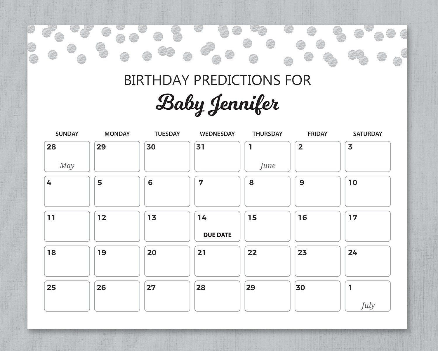 Baby Due Date Calendar Sign, Birthday Predictions, Guess The Birthday,  Silver Confetti Baby Shower Games, Guess The Due Date Sign, B016