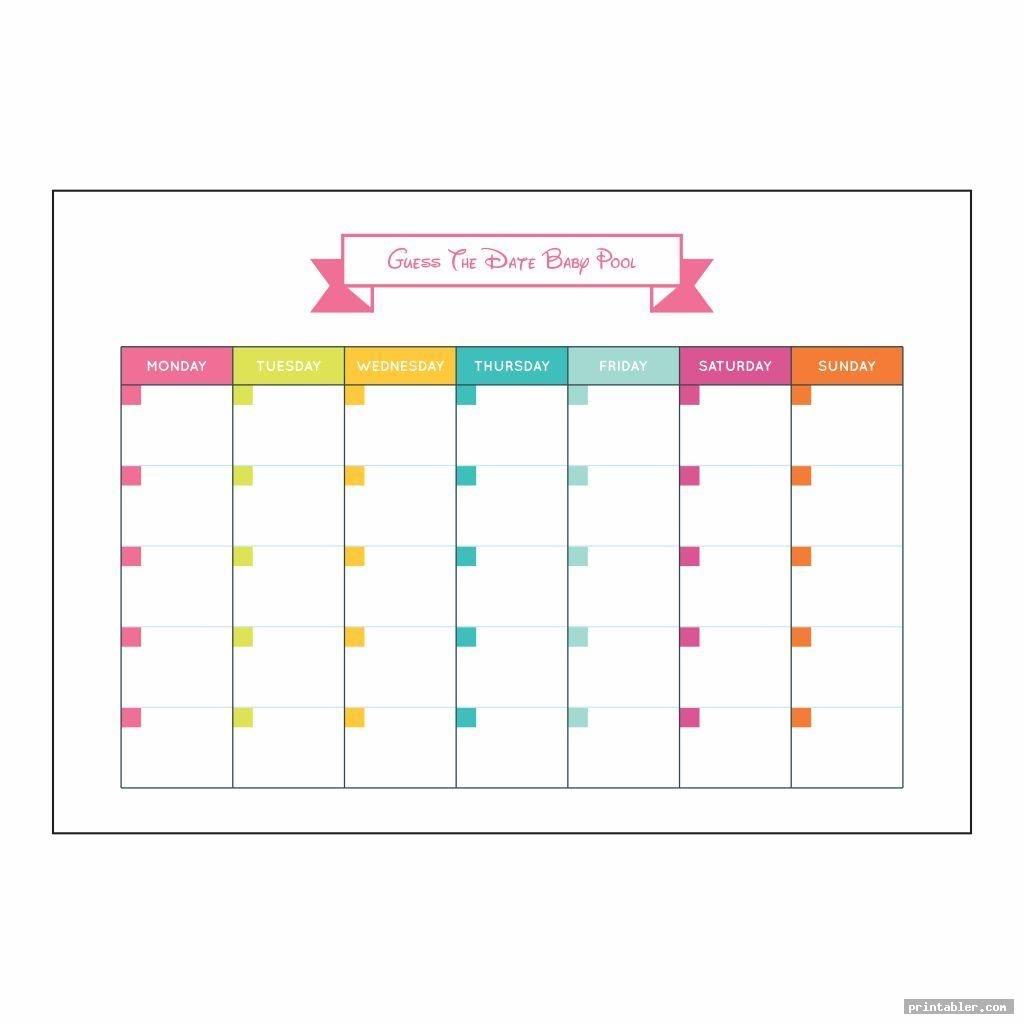 Baby Due Date Pool Template Printable - Printabler