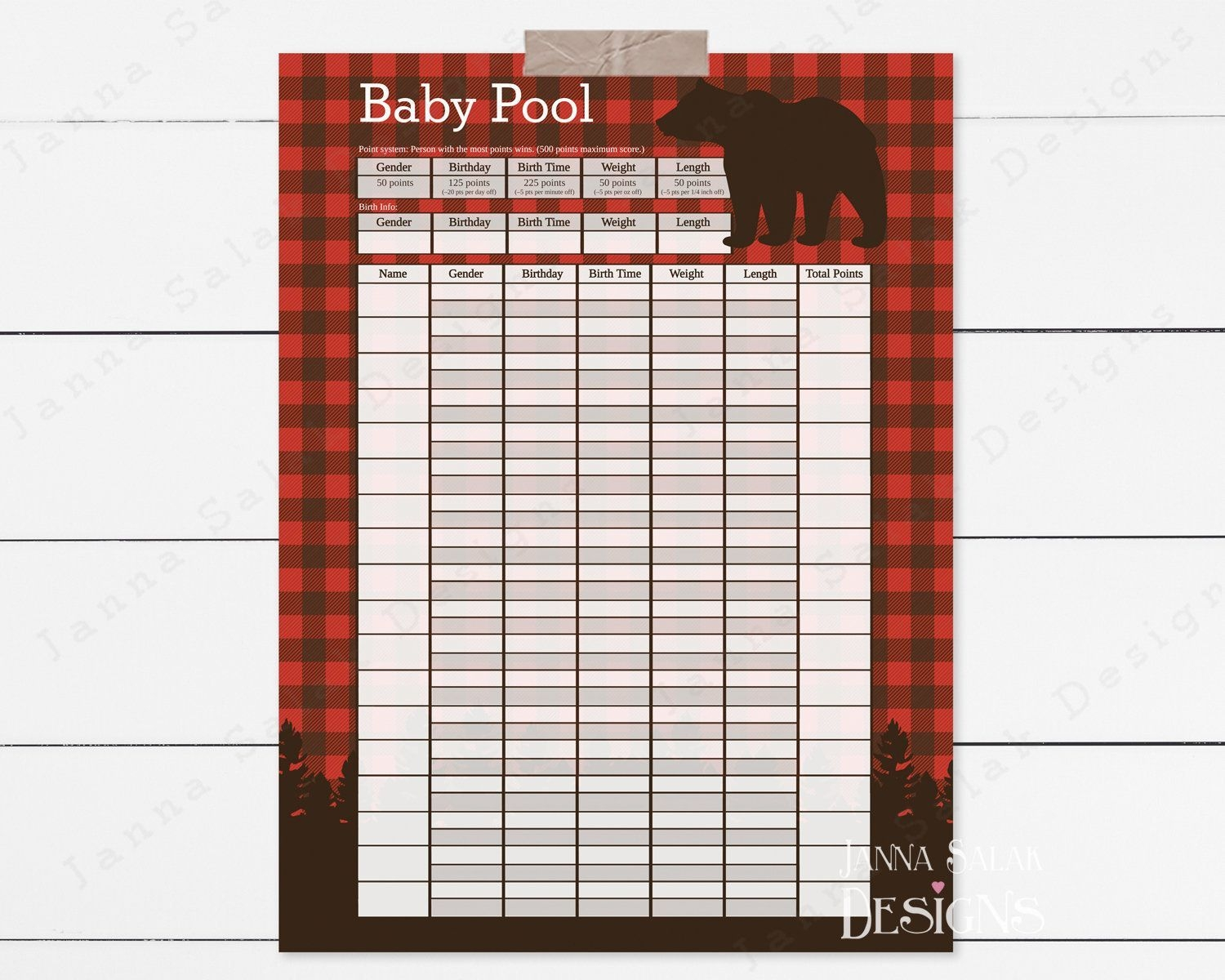 Baby Pool Birth Prediction Printable Poster Sign Template