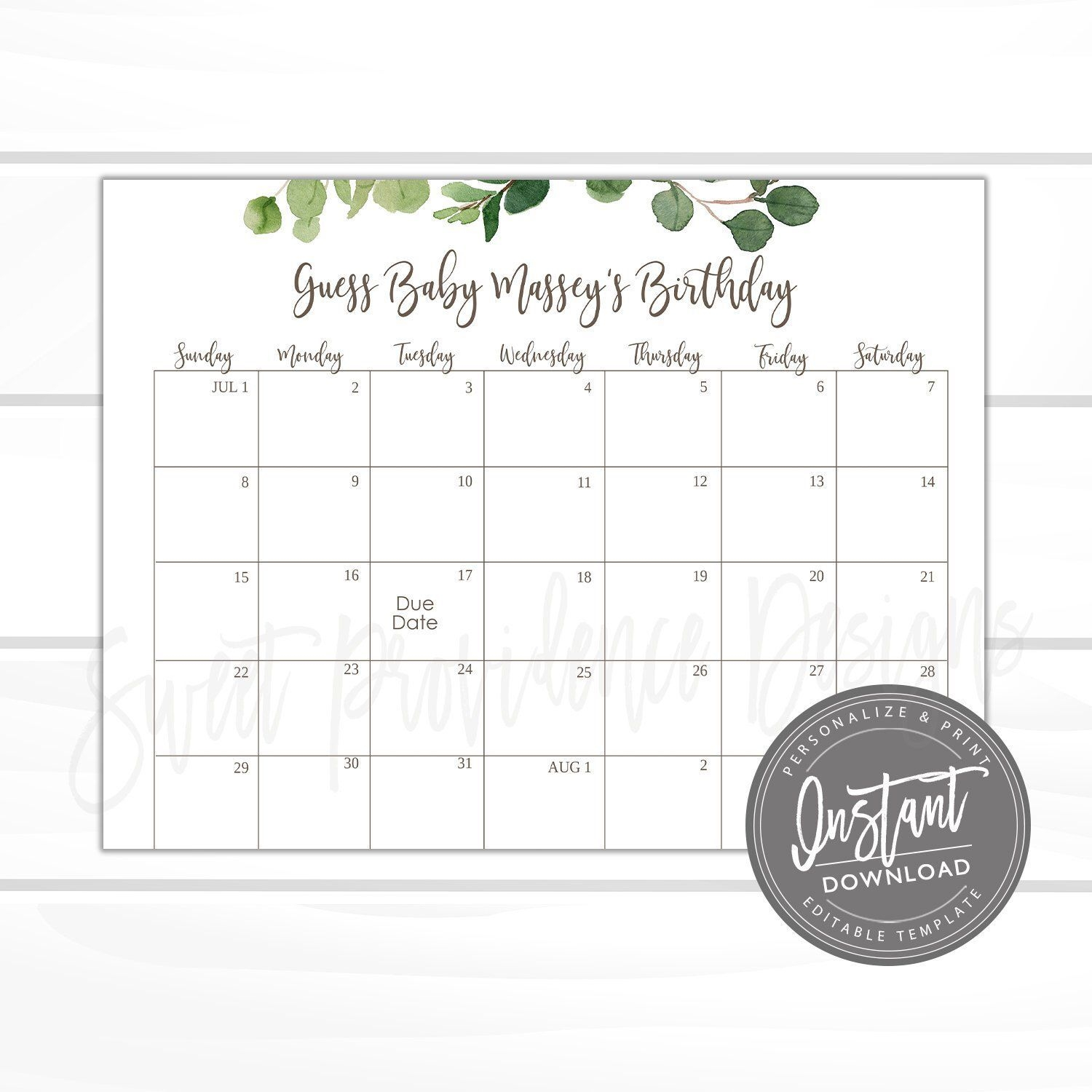Baby Shower Due Date Calendar Game, Printable Greenery Guess