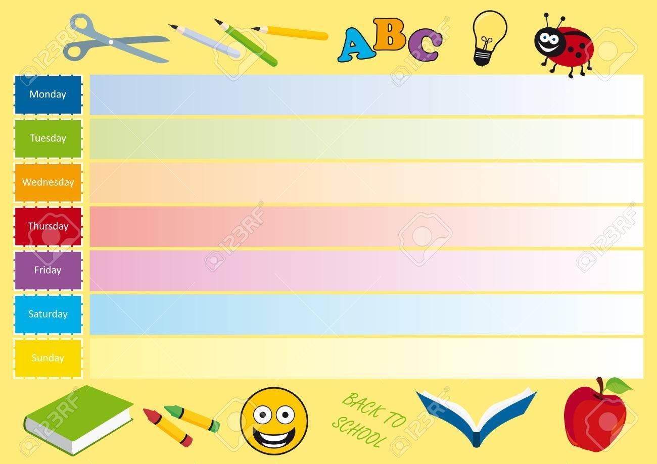 Back To School Vector. Weekly Calendar For Kids. Planning Vector..
