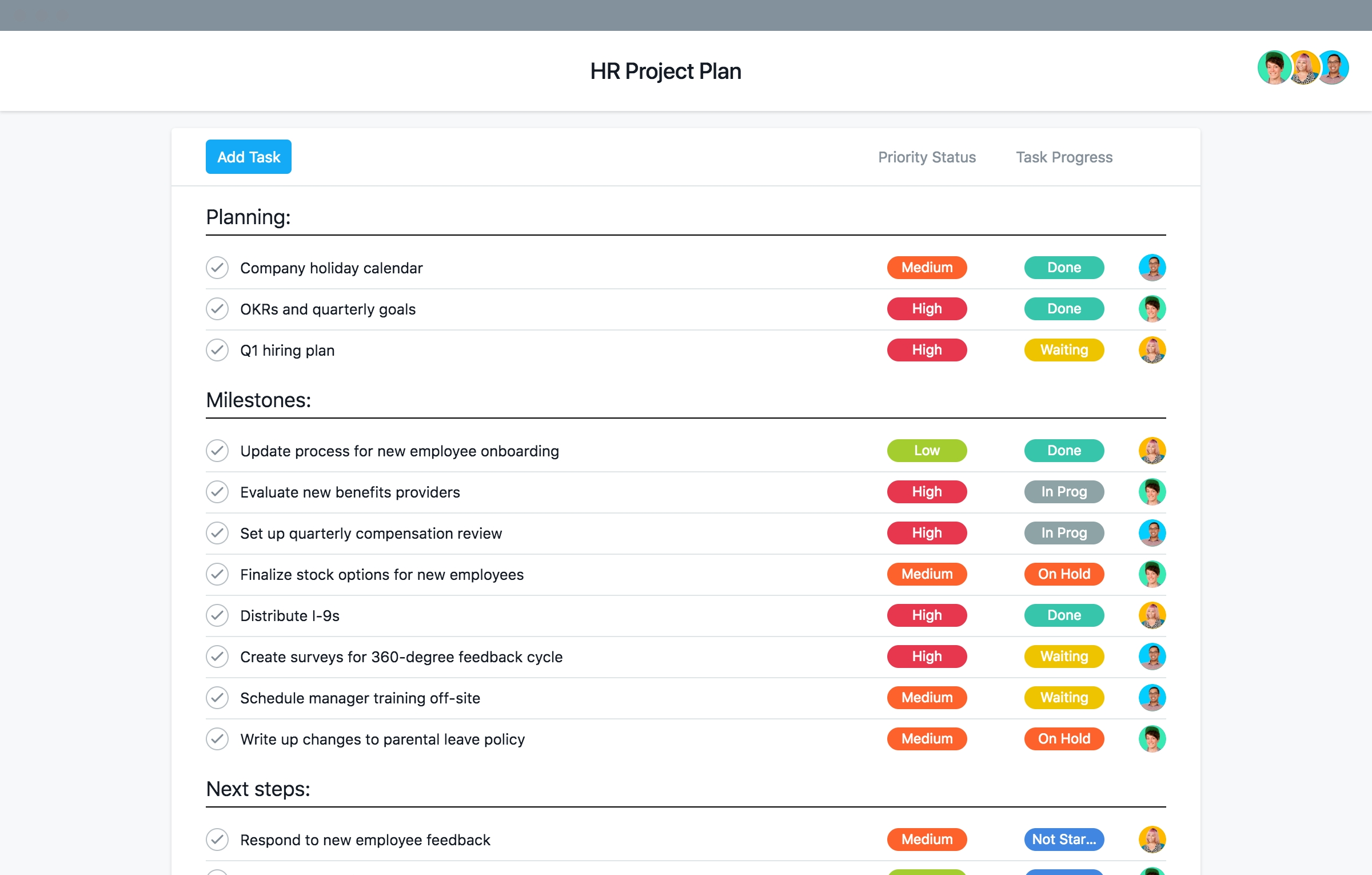 Basic Template For Human Resources Projects · Asana