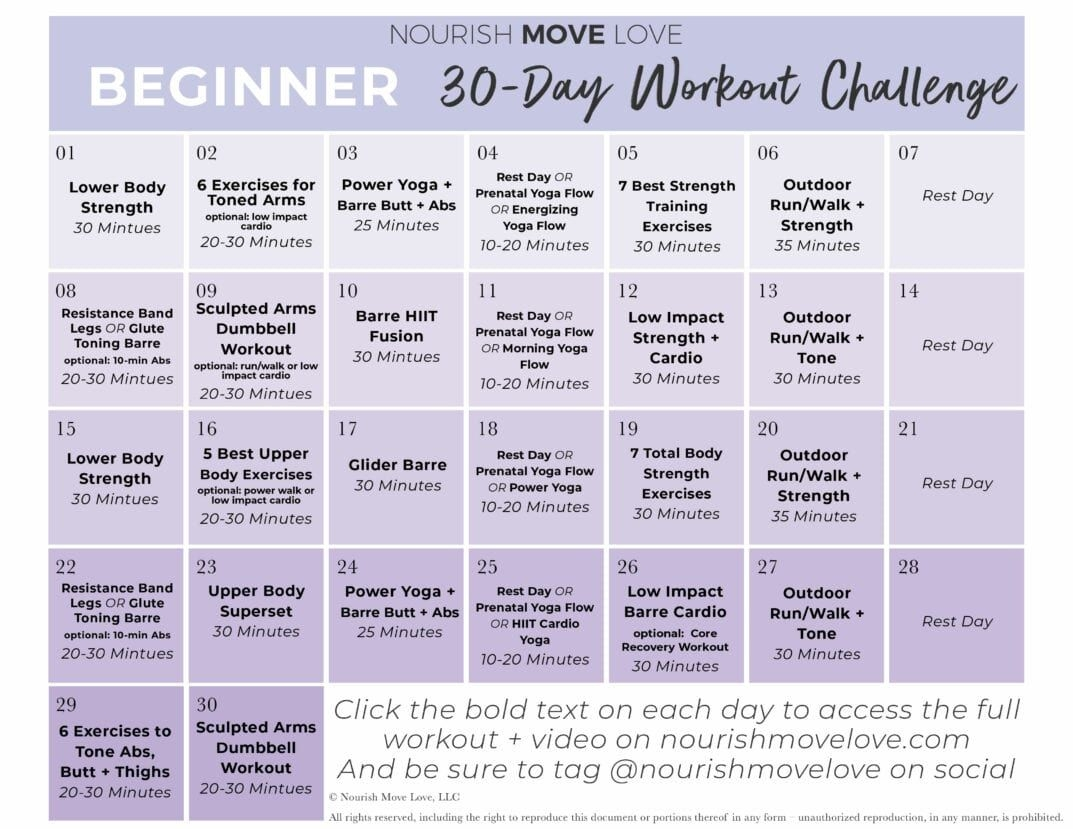 Beginner Workout Plan + 30-Day Workout Calendar | Nourish