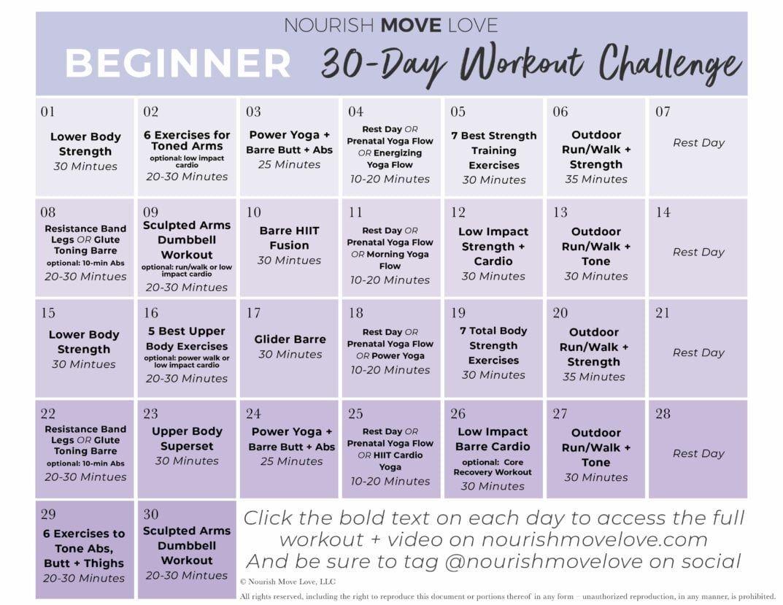 Beginner Workout Plan + 30-Day Workout Calendar | Nourish