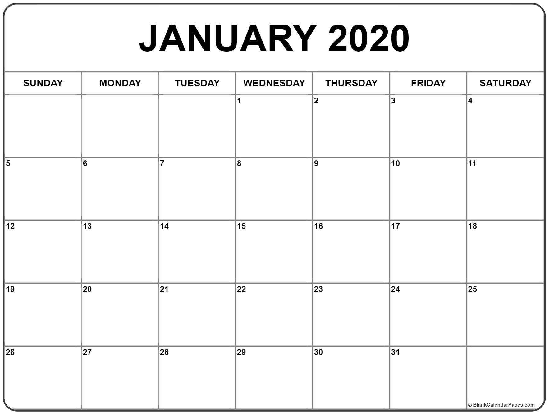 Best Of 2020 Printable January Calendar (With Images