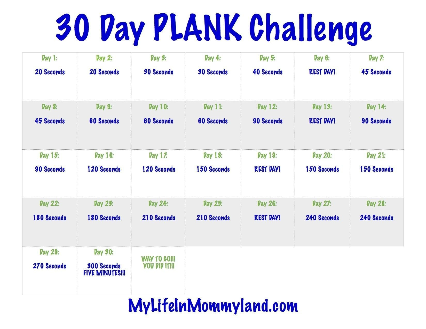 Best Of 30 Day Plank Challenge Calendar Printable (With