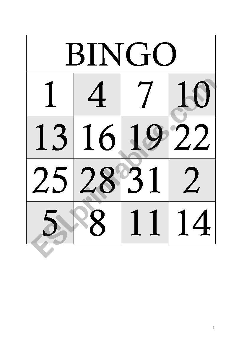 Bingo 1-31 - Esl Worksheet By Gertmaes