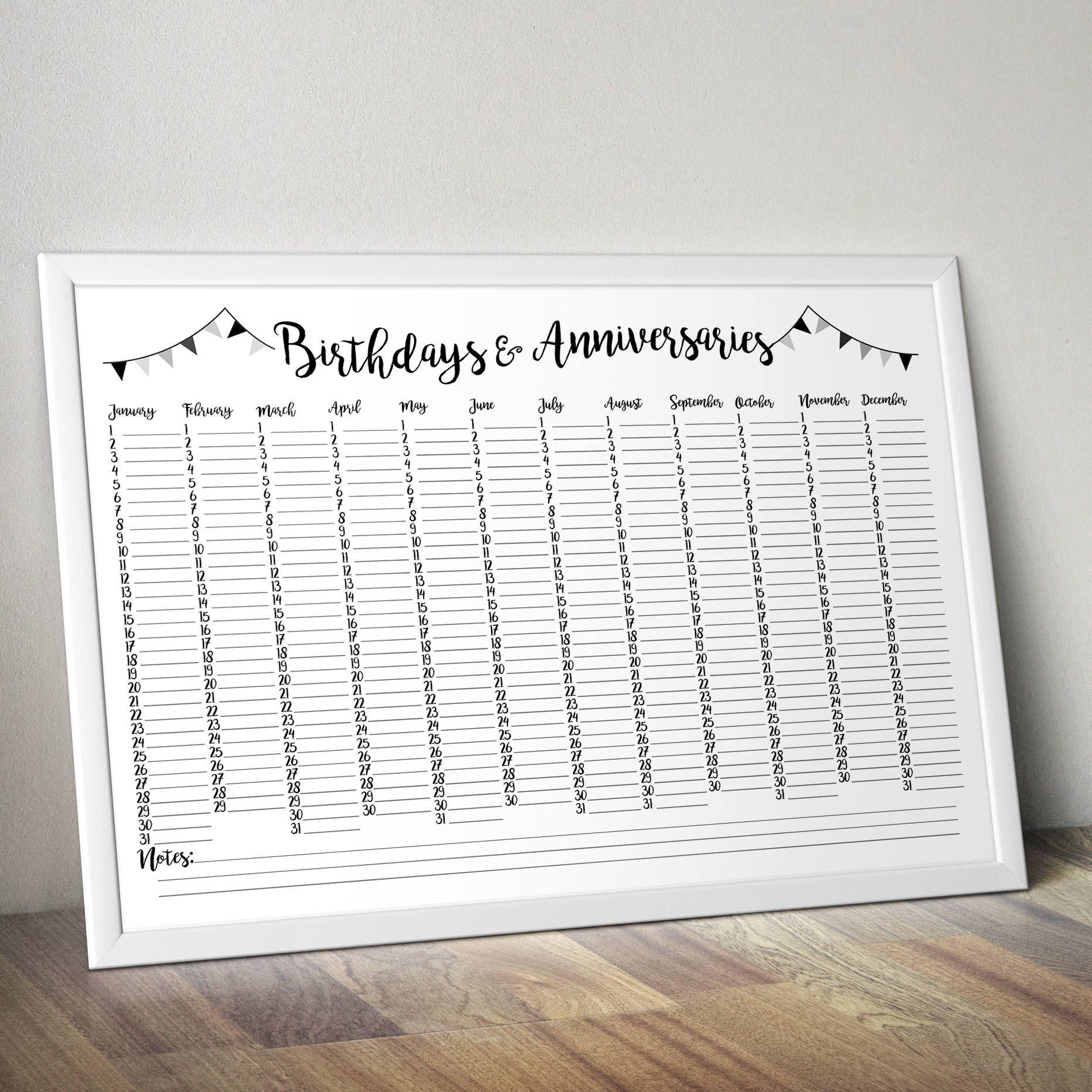 Birthday And Anniversary Calendar – Printable Perpetual