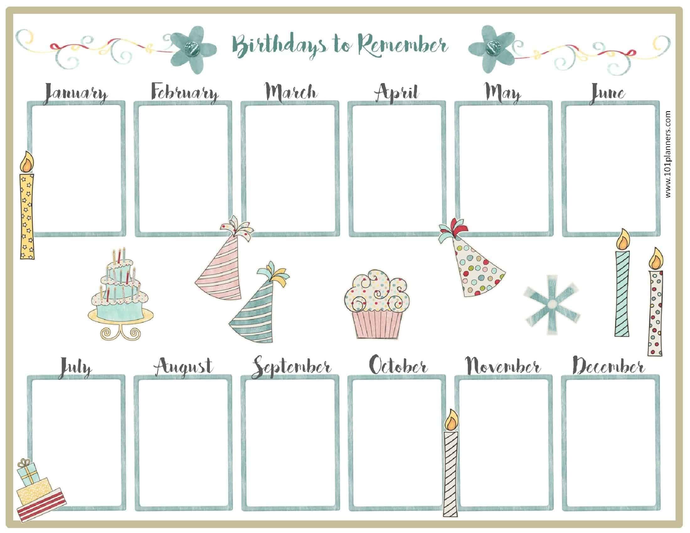 Birthday Calendar Template