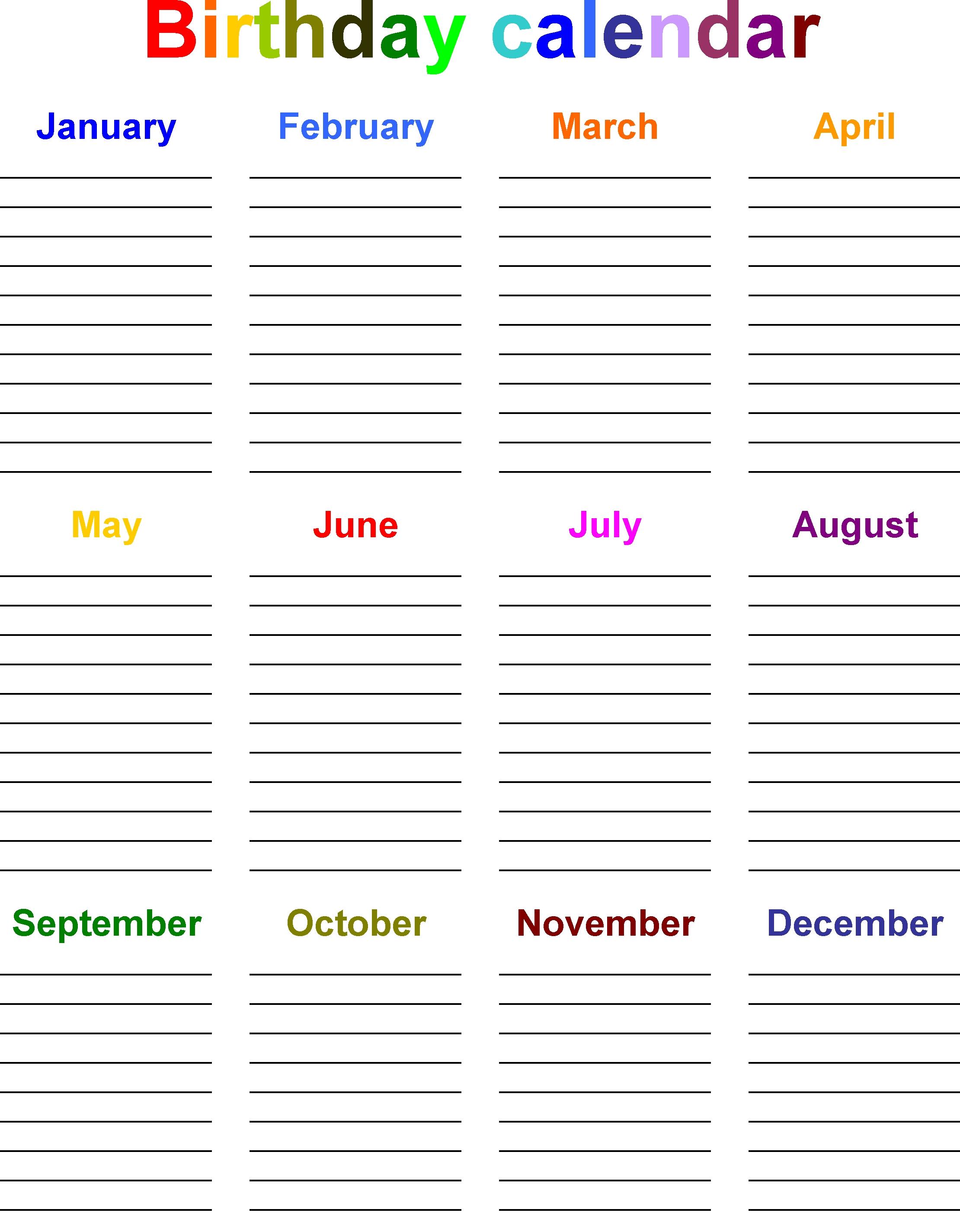 Birthday Calendar Template Free Microsoft Word   Calendar