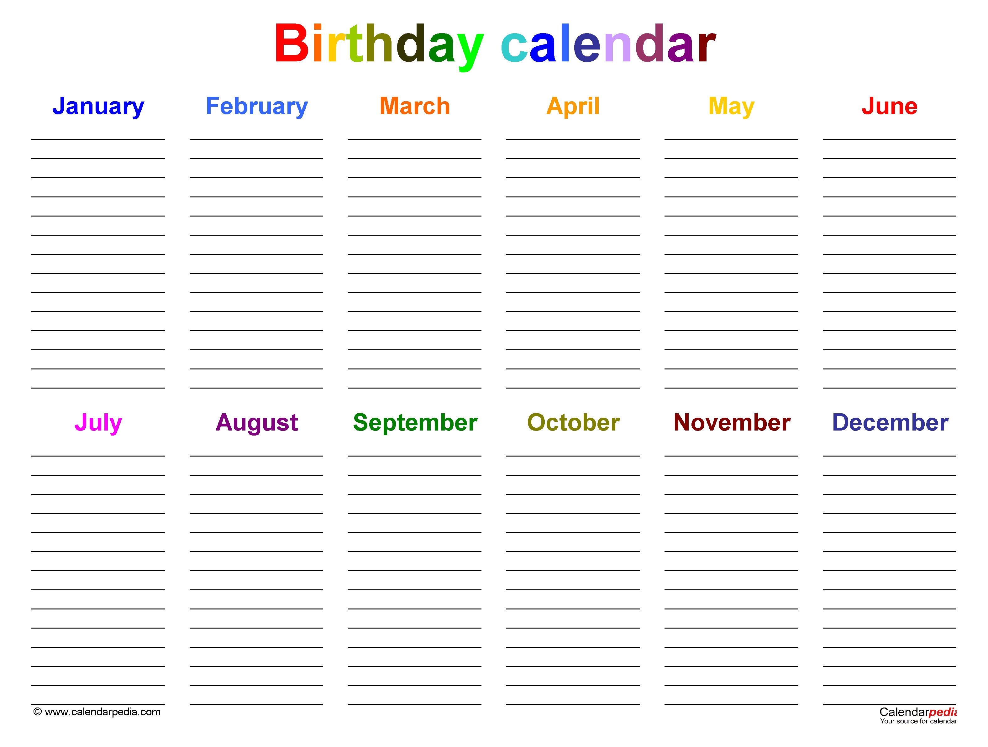 Birthday Calendars - Free Printable Microsoft Word Templates