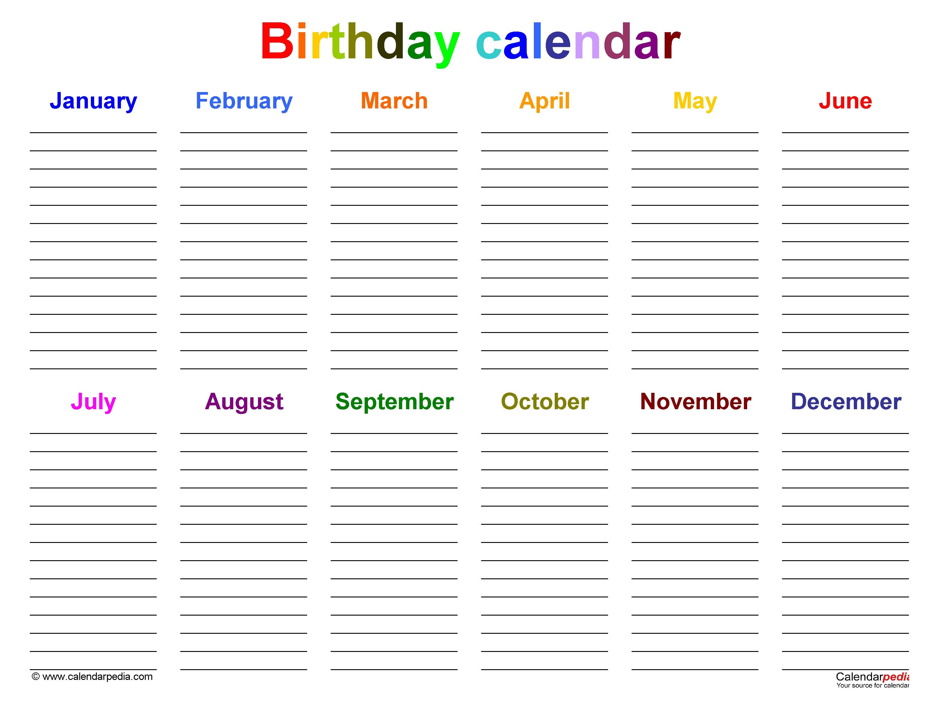 Birthday Calendars - Free Printable Microsoft Word Templates