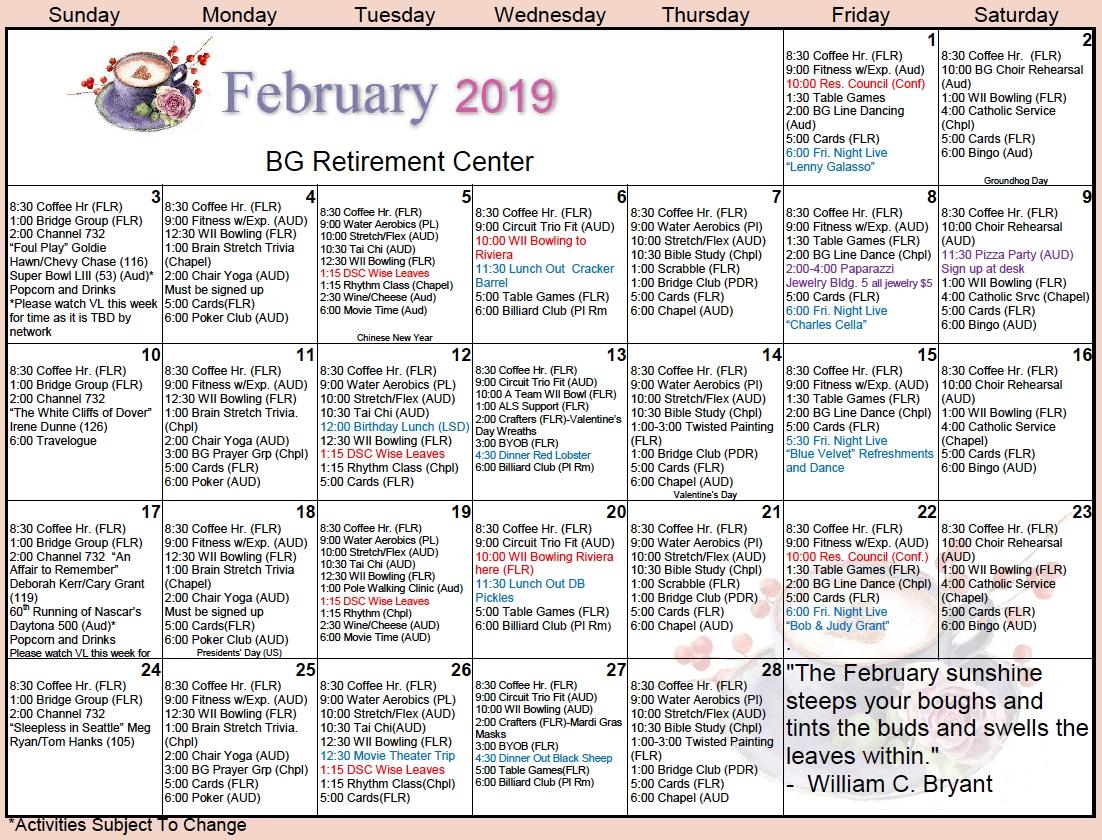 Bishop's Glen February Calendar - Bishop's Glen Retirement