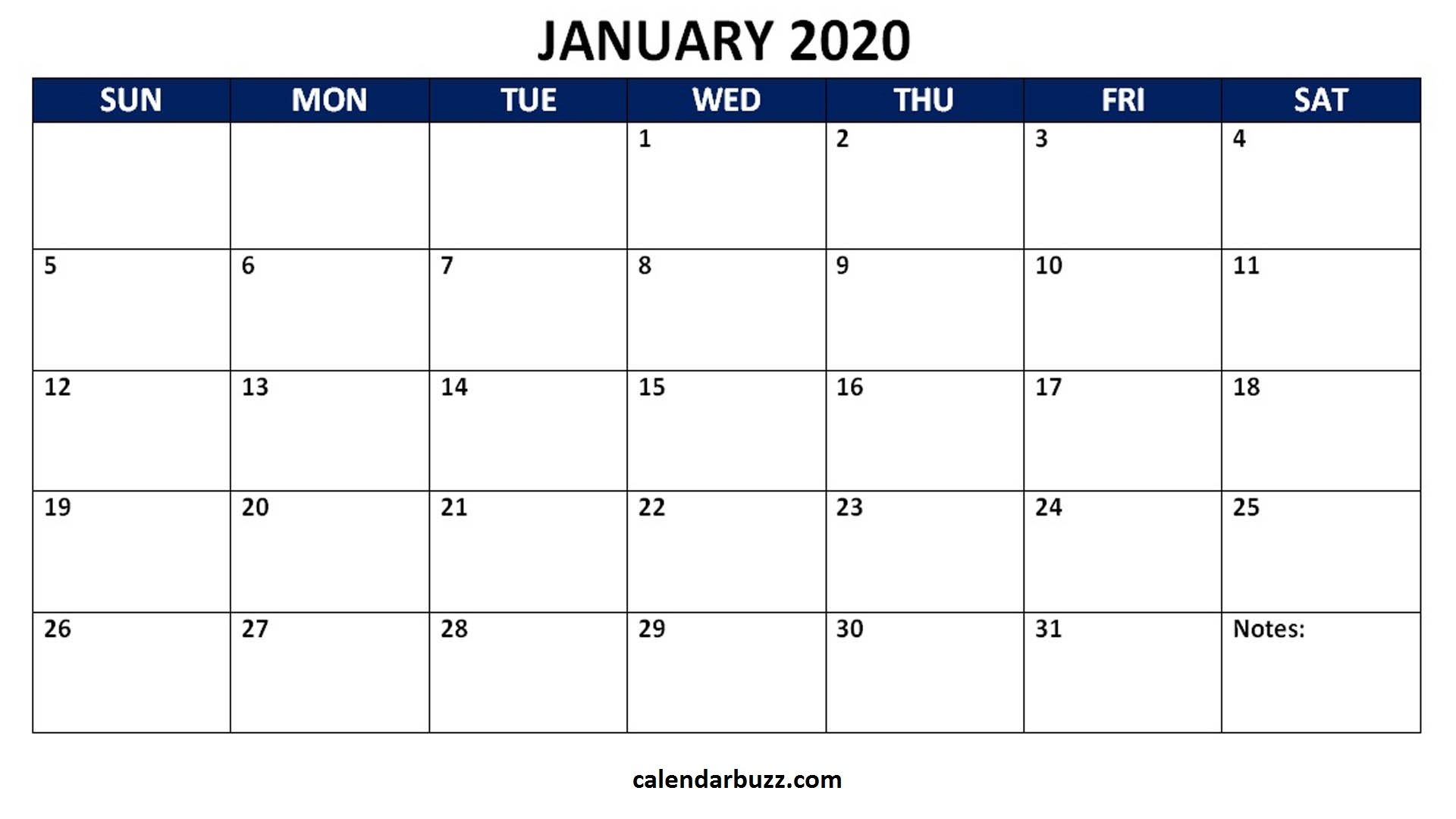 Blank 2020 Calendar Printable Monthly Word Templates