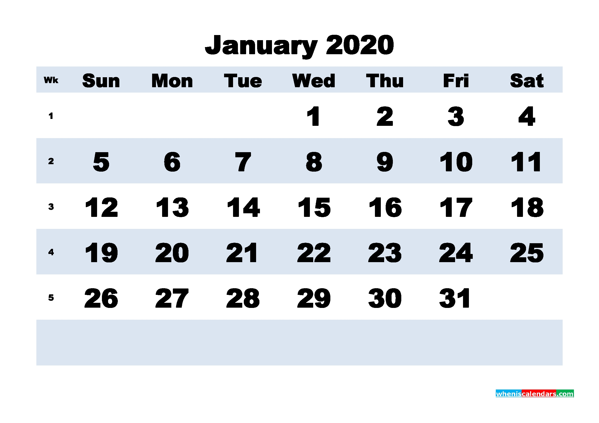 Blank 2020 January Calendar Printable Landscape Layout