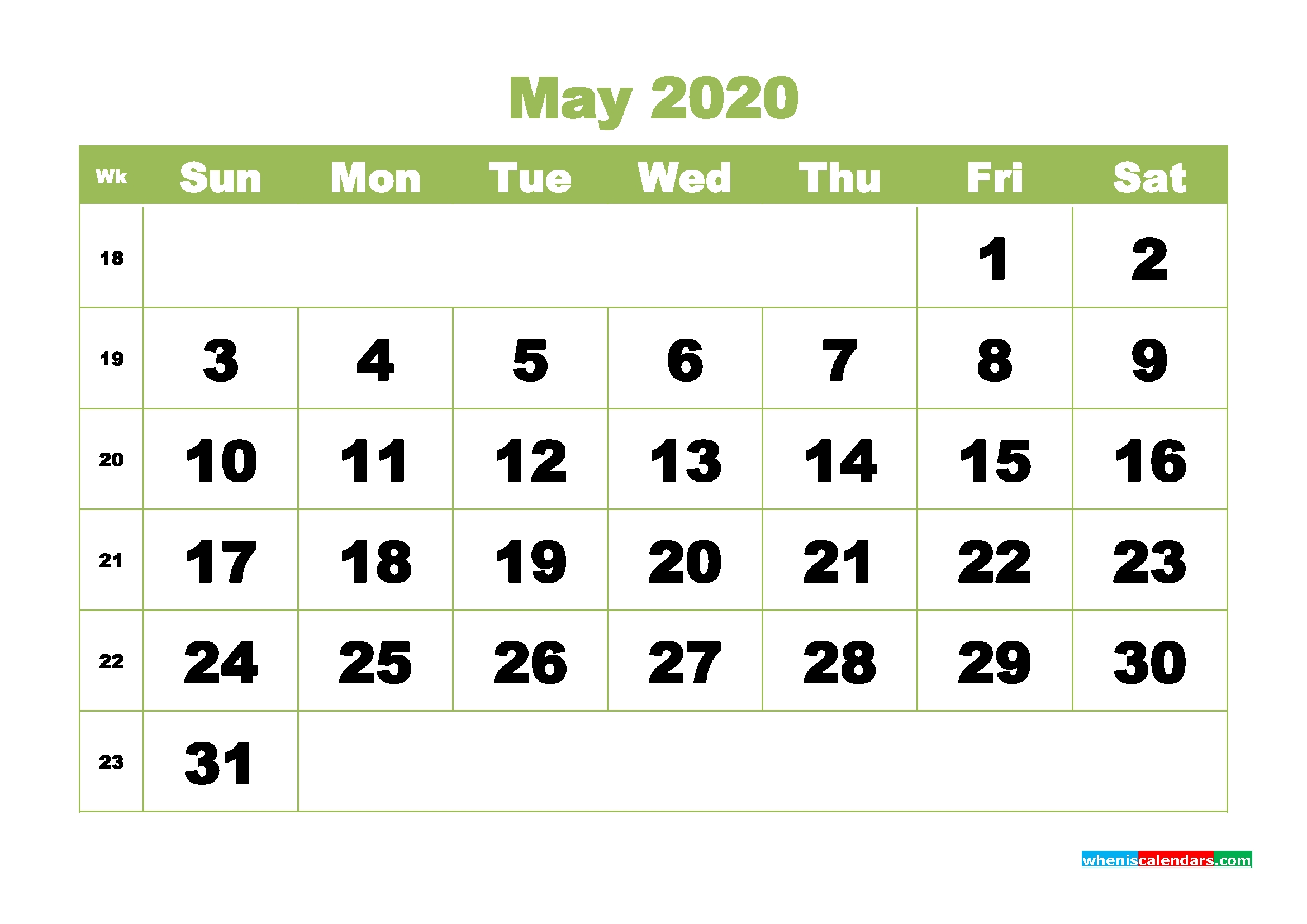 Blank 2020 May Calendar Printable Landscape Layout | Free