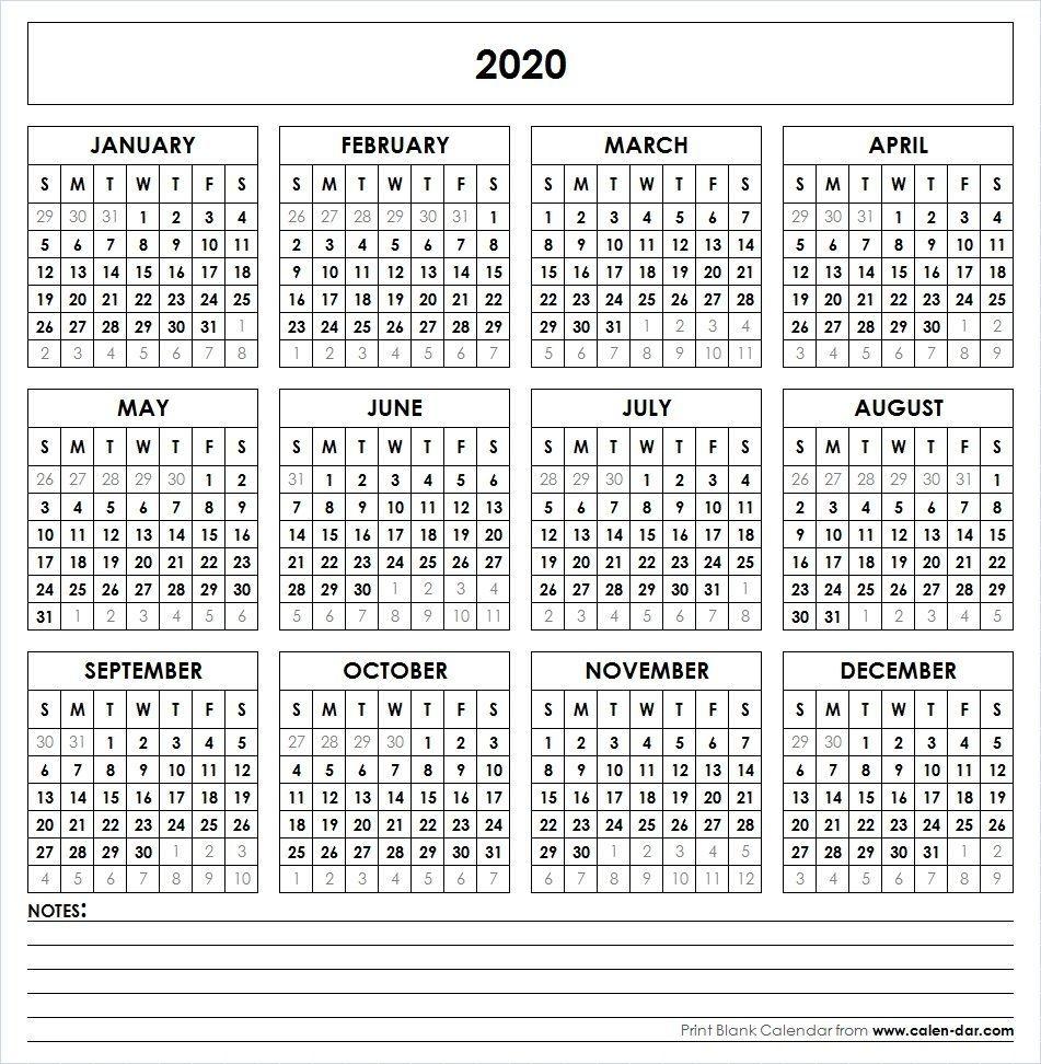 Blank 2020 Printable Calendar Template Pdf   Yearly Calendar