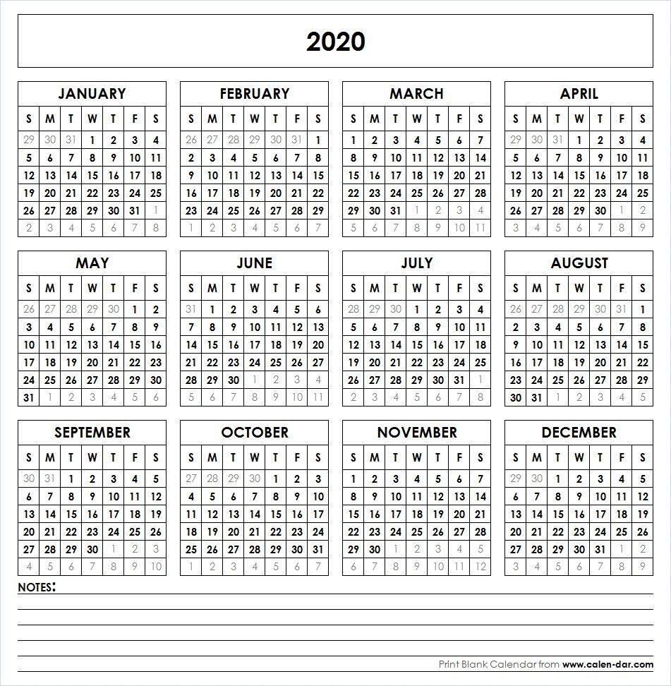 Blank 2020 Printable Calendar Template Pdf | Yearly Calendar