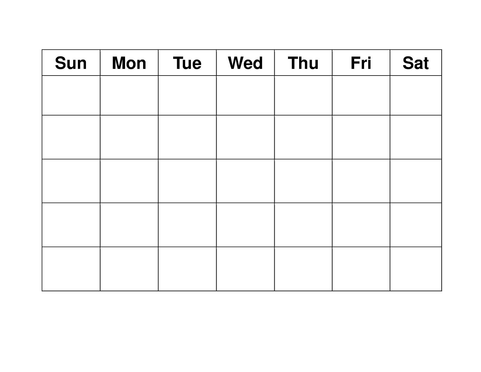 Blank 4 Week Calendar Printable - Calendar Inspiration Design