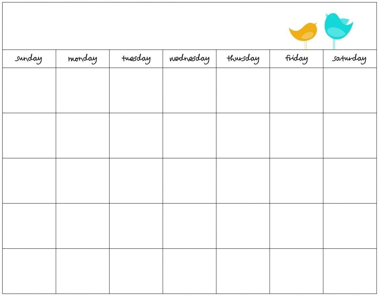 Blank 7 Day Calendar Template - Calendar Inspiration Design