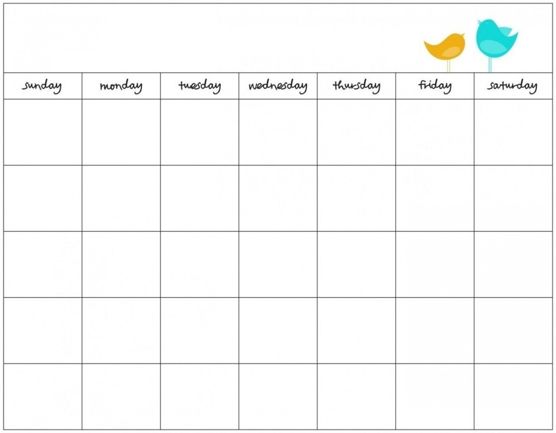 Blank 7 Day Calendar To Print | Free Calendar Template Example