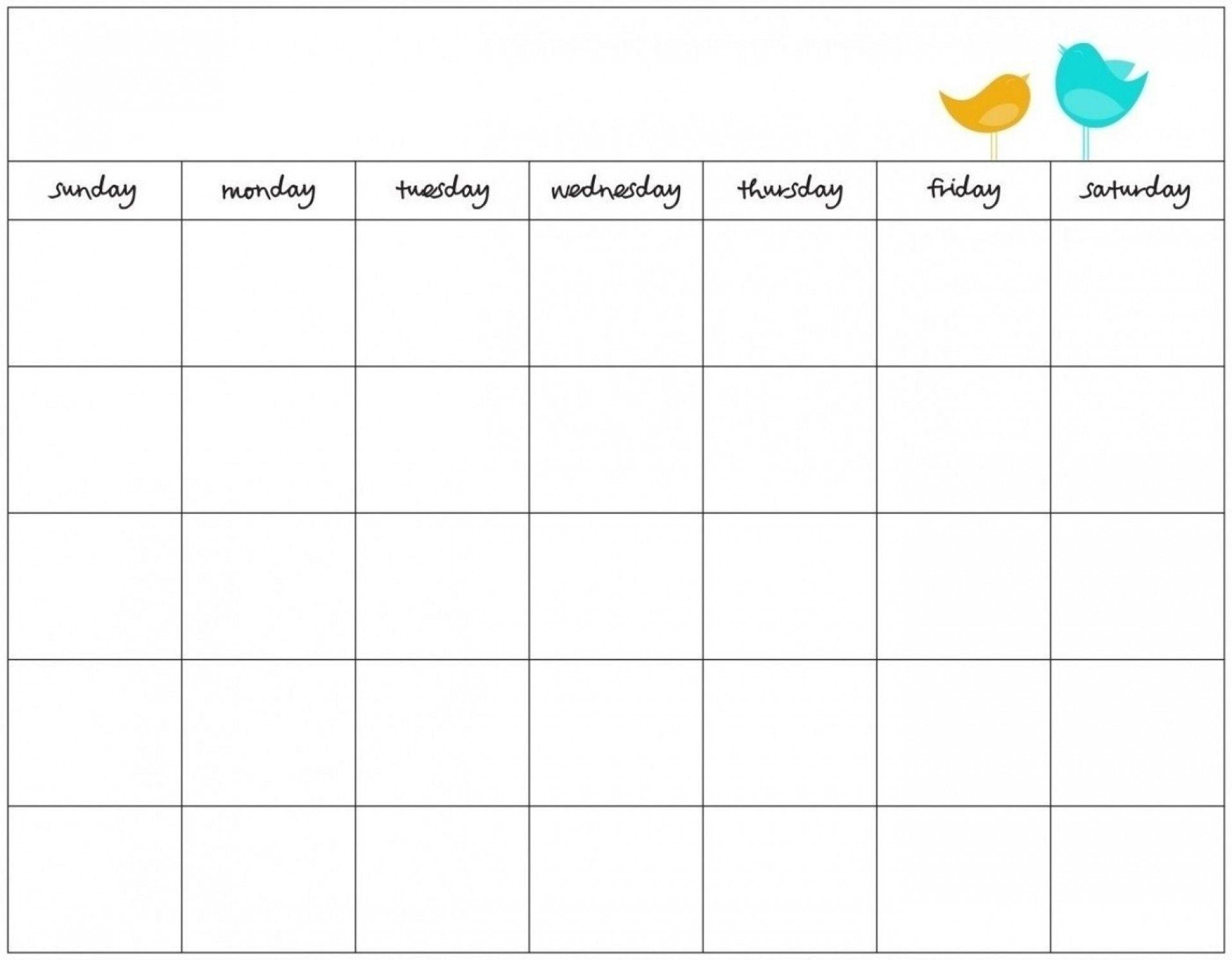 Blank 7 Day Calendar To Print   Free Calendar Template Example
