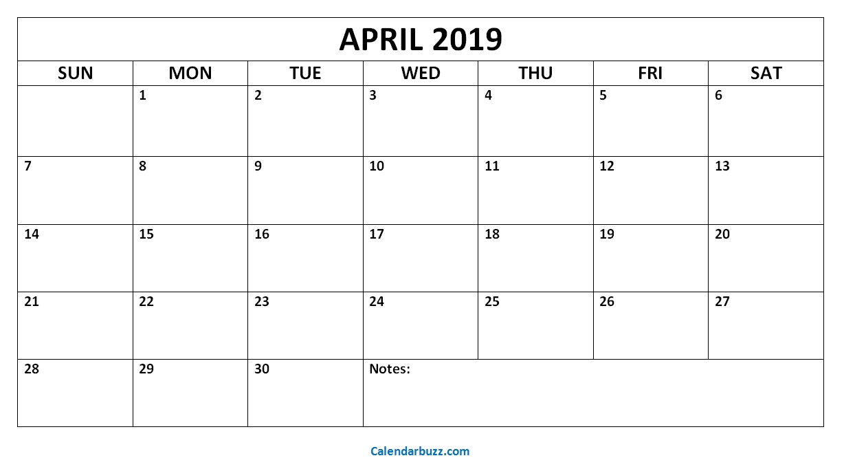 Blank April 2019 Printable Calendar Download (With Images