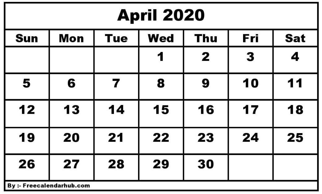 Blank April 2020 Calendar – You Can Easily Download, Print