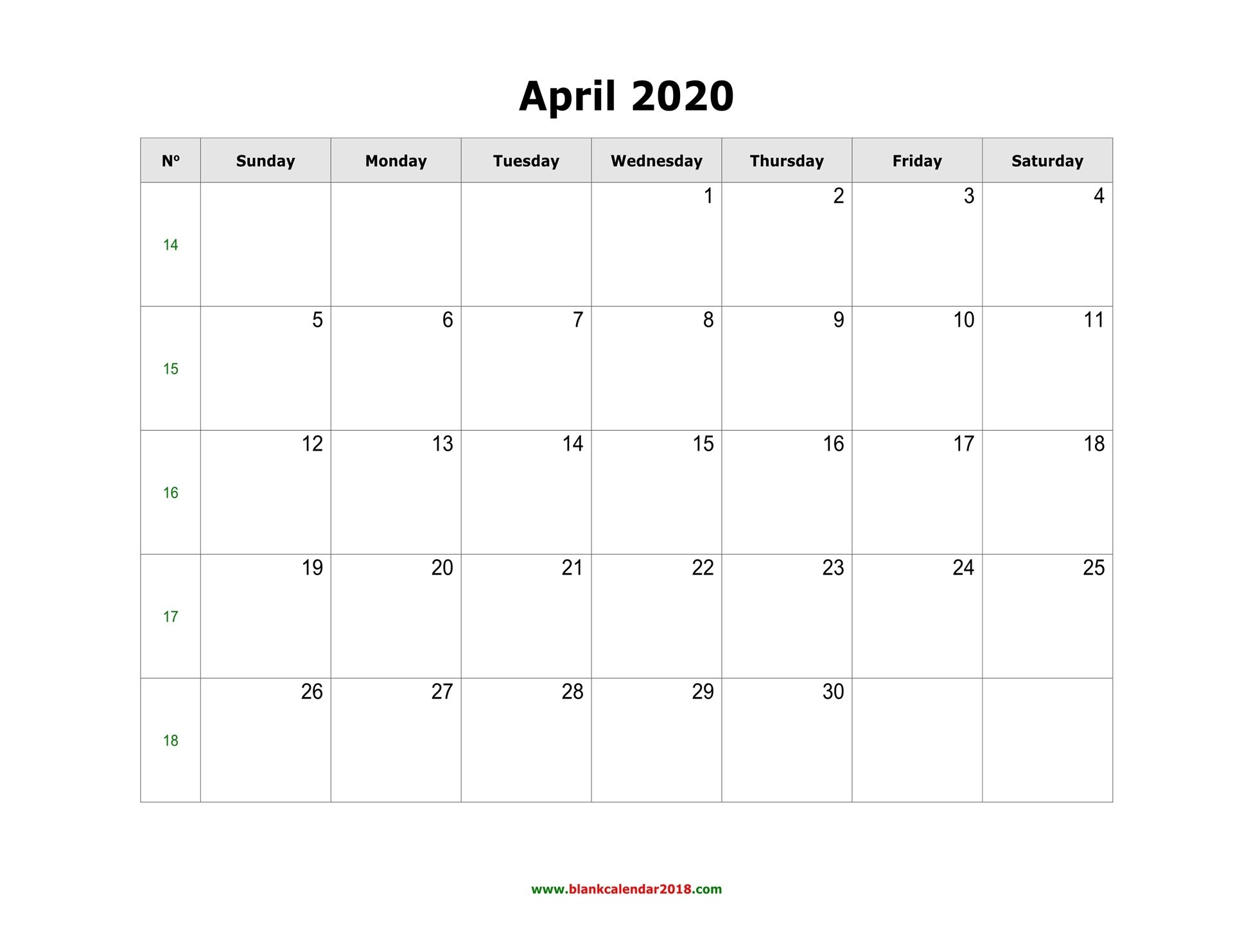 Blank Calendar For April 2020
