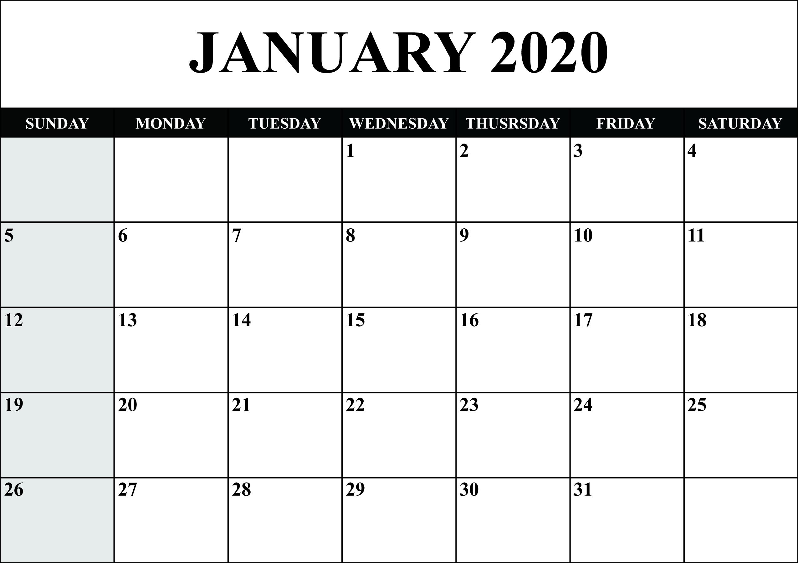 Blank Calendar January 2020 Printable Fillable Template