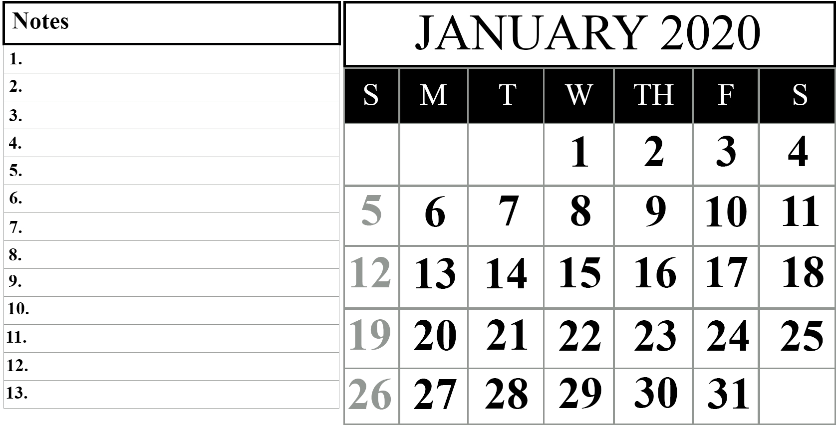 Blank Calendar January 2020 Printable Fillable Template