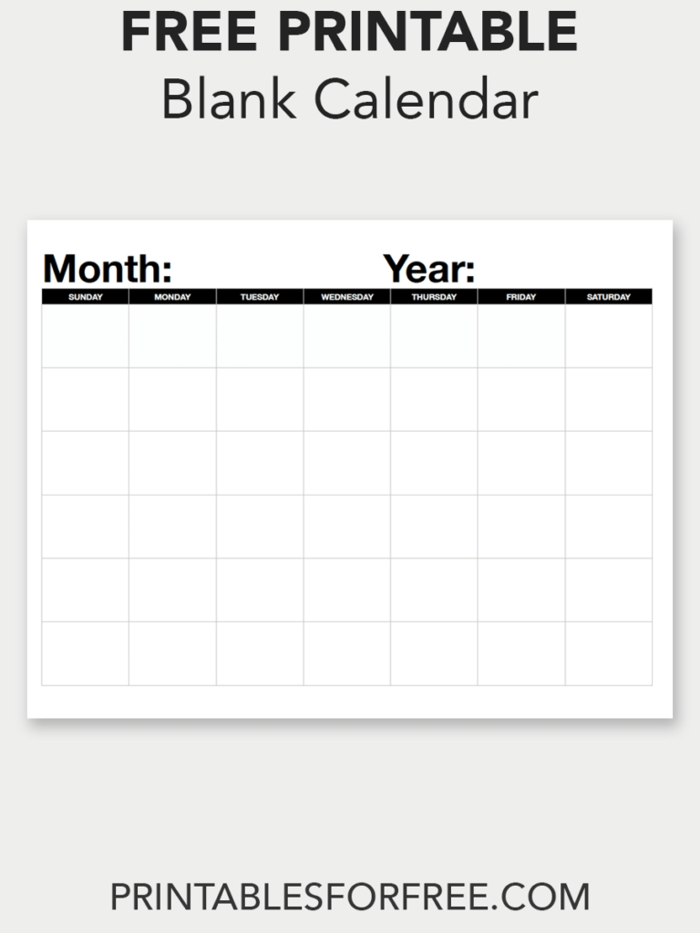 Blank Calendar (Monthly - Sunday Start (With Images) | Blank